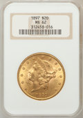 Liberty Double Eagles: , 1897 $20 MS62 NGC. NGC Census: (7078/2831). PCGS Population(4649/1551). Mintage: 1,383,261. Numismedia Wsl. Price for prob...