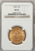 Liberty Eagles: , 1899 $10 MS62 NGC. NGC Census: (7342/6832). PCGS Population(4468/2315). Mintage: 1,262,305. Numismedia Wsl. Price for prob...