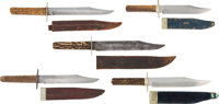 Group of 5 Clipped Point Knives