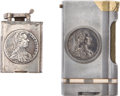 Antiques:Antiquities, Lot of Two Coin Theme Antique Cigarette Lighters.... (Total: 2 Items)