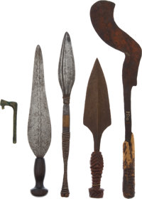 Lot of Five Ethnographic Scarring Knives from Central Africa