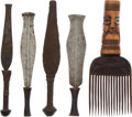 Antiques:Antiquities, Lot of Four Ethnographic Scarring Knives From Central AfricaTogether with One Comb.... (Total: 5 )
