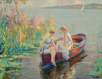 EDWARD CUCUEL (American, 1875-1954) Summer Reflections Oil on canvas 26 x 31 inches (66.0 x 78.7
