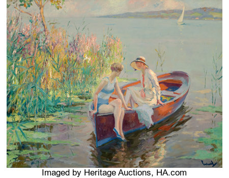 EDWARD CUCUEL (American, 1875-1954)Summer ReflectionsOil on canvas26 x 31 inches (66.0 x 78.7 cm)Signed lower ri...