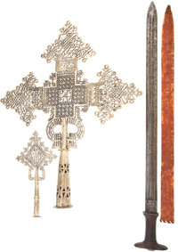 Lot of Two Ethiopian Religious Processional Crosses and One Sword