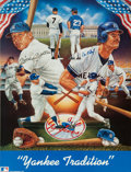Baseball Collectibles:Others, Don Mattingly and Mickey Mantle Multi Signed Lithograph....