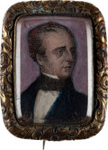 Political:Ferrotypes / Photo Badges (pre-1896), John Tyler: Unique Miniature Brooch....