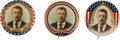 Political:Pinback Buttons (1896-present), Theodore Roosevelt: Trio of Natural Color Buttons.... (Total: 3 Items)