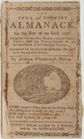 Books:Americana & American History, [Almanac]. Abraham Weatherwise. The Town and Country Almanackfor the Year of Our Lord 1798. Boston: J. White, 1798....