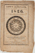 Books:Americana & American History, [Almanac]. Nathanael Low. Low's Almanack, and Mechanic's andFarmer's Calendar, for the Year 1826. Boston: Munro...