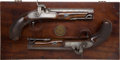 Handguns:Target / Single Shot Pistol, Pair of British Percussion Traveling Pistols by Clive, London....