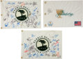 Golf Collectibles:Autographs, Golf Stars Multi Signed Flags lot of 3....