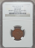 Civil War Merchants, 1864 Henry Wolff, Detroit, MI, MS64 Red and Brown NGC.Fuld-MI225CS-6a, R.9.. Purchased from James Kelly (7/8/1943) for60...