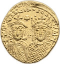 Ancients:Byzantine, Ancients: Constantine VI and Irene (AD 780-797). AV solidus (19mm,4.46 gm, 6h). ...