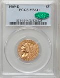 Indian Half Eagles, 1909-D $5 MS64+ PCGS. CAC....