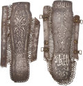 Antiques:Antiquities, Rare Pair of Indo-Persian Silver-Inlaid Arm Guards.... (Total: 2 Items)