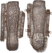 Rare Pair of Indo-Persian Silver-Inlaid Arm Guards