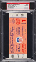 Football Collectibles:Tickets, 1963 NFL Championship Game Bears vs. Giants Full Ticket, PSA Authentic....