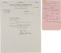 Hockey Collectibles:Others, 1942 Montreal Canadiens Multi Signed Sheet, With Letter From Gordon Drillon to a Fan....