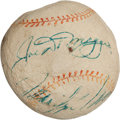 Autographs:Baseballs, Circa 1962 Joe DiMaggio & Marilyn Monroe Signed Baseball with Monroe Signed Cocktail Napkin....