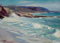 Fine Art - Painting, American:Modern  (1900 1949)  , GRACE EARLE HARRISON (American, 1853-1945). Laguna Beach,California (The Shore Autumn). Oil on board. 7 x 10 inches(17...