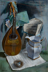 JERRY FARNSWORTH (American, 1895-1983) Still Life with Mandolin and Old Music Oil on canvas 30 x