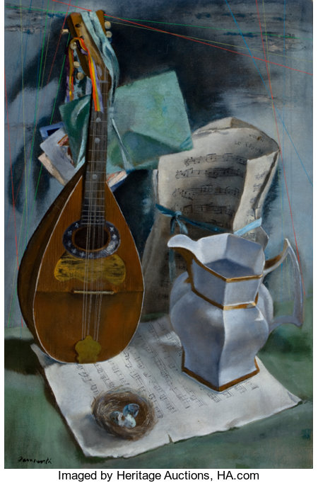 JERRY FARNSWORTH (American, 1895-1983)Still Life with Mandolin and Old MusicOil on canvas30 x 20 inches (76.2 x 50...