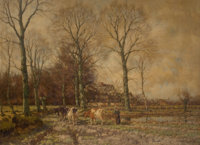 ARNOLD MARC GORTER (Dutch, 1866-1933) Landscape with Cattle Oil on canvas 39-1/2 x 53-1/2 inches