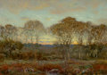 Fine Art - Painting, American, DWIGHT WILLIAM TRYON (American, 1849-1925). Sunset, 1916.Oil on panel. 11-1/2 x 15-1/2 inches (29.2 x 39.4 cm). Signed ...
