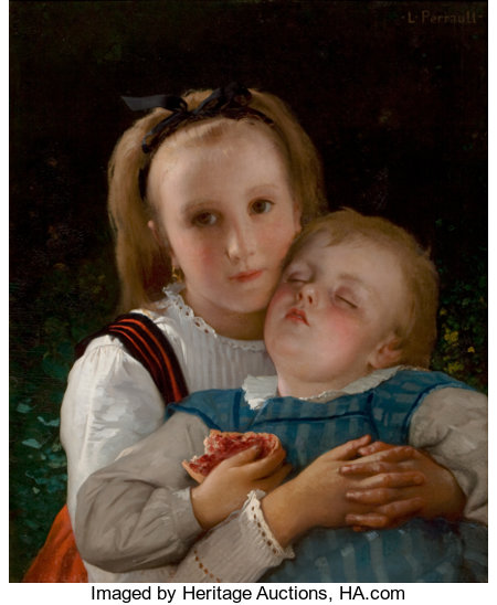 LEON JEAN BASILE PERRAULT (French, 1832-1908)L' amour FraternelOil on canvas22 x 18 inches (55.9 x 45.7 cm)Signe...