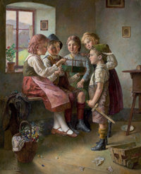 EDMUND ADLER (German, 1871-1957) The New Pet Oil on canvas 27-1/4 x 22-1/4 inches (69.2 x 56.5 c