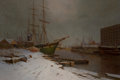 Paintings, CHARLES BROOKE BRANWHITE (British, 1851-1929). London Harbor in the Snow. Oil on canvas. 38 x 55 inches (96.5 x 139.7 cm...