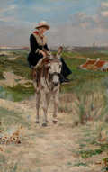 Paintings, JAN FRANS VERHAS (Belgian, 1834-1896). The Ride. Oil on canvas. 38 x 25 inches (96.5 x 63.5 cm). Signed lower right: J...