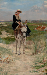 JAN FRANS VERHAS (Belgian, 1834-1896) The Ride Oil on canvas 38 x 25 inches (96.5 x 63.5 cm) S