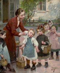 HENRY JULES JEAN GEOFFROY (French, 1853-1924) The Teacher's Touch Oil on canvas 26 x 22 inches (6