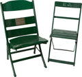 Baseball Collectibles:Others, Circa 1940 Wrigley Field Chairs Lot of 2, One Signed....