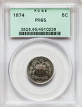 Proof Shield Nickels: , 1874 5C PR65 PCGS. PCGS Population (77/49). NGC Census: (76/45).Mintage: 700. Numismedia Wsl. Price for problem free NGC/P...