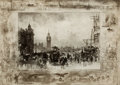 Fine Art - Work on Paper:Print, FÉLIX HILAIRE BUHOT (French, 1847-1898). Clock Tower,London. Drypoint etching. Image: 11-1/4 x 15-3/4 inches (28.6 x40...