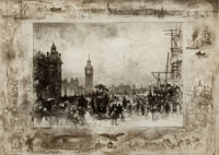 FÉLIX HILAIRE BUHOT (French, 1847-1898) Clock Tower, London Drypoint etching Image: 11-1/4 x 15-3