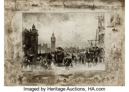 FÉLIX HILAIRE BUHOT (French, 1847-1898) Clock Tower, London Drypoint etching Image: 11-1/4 x 15-3/4 inches (28.6 x 40...