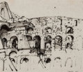 Fine Art - Work on Paper:Drawing, PETER BLUME (American, 1906-2006). Ruins in Rome, 1957. Penand ink on paper . 9-1/4 x 10-1/2 inches (23.5 x 26.7 cm). S...(Total: 3 Items)