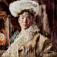 HUNG LIU (Chinese, b. 1948) Chinese Portrait Oil on canvas 31-3/4 x 31-3/4 inches (80.6 x 80.6 cm