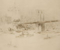 Fine Art - Work on Paper:Drawing, WILLIAM WALCOT (British, 1874-1943). Brooklyn Bridge.Etching . Image: 8 x 9-3/4 inches (20.3 x 24.8 cm). Sight: 9-1/4x...
