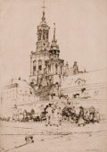 Fine Art - Work on Paper:Print, FRANK SHORT (British, 1857-1945). Towers of Kampen. Drypointetching. Image: 9 x 6-1/4 inches (22.9 x 15.9 cm). Sheet: 1...