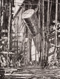 Fine Art - Work on Paper:Print, MUIRHEAD BONE (British, 1876-1953). Men Hoisting Container.Lithograph. Image: 18 x 13-3/4 inches (45.7 x 34.9 cm). Shee...