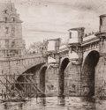 Prints, CHARLES MERYON (French, 1821-1868). Le Pont Neuf. Line etching. Image: 6-1/2 x 6-1/2 inches (16.5 x 16.5 cm). Sheet: 13-...