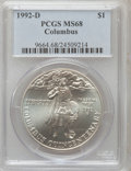 Modern Issues: , 1992-D $1 Columbus Silver Dollar MS68 PCGS. PCGS Population(83/1675). NGC Census: (16/1434). Mintage: 106,949. Numismedia ...