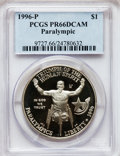 Modern Issues: , 1996-P $1 Olympic/Paralympics Silver Dollar PR66 Deep Cameo PCGS.PCGS Population (12/1463). NGC Census: (1/1172). Numisme...