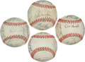 Autographs:Baseballs, Old Timers Signed Baseballs With Stars and Hall Of Famers Lot Of 4....