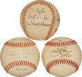 Autographs:Baseballs, Multi Signed Baseballs With Hall Of Famers Lot Of 3. ...